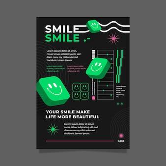 Cartaz de ácido emoji cartaz de design plano