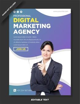 Cartaz de agência de marketing digital e modelo de mídia social