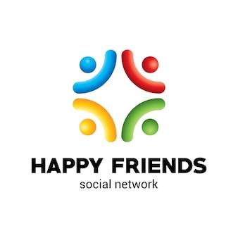 Cartaz de amigos felizes com informações sobre redes sociais com ilustração de elementos coloridos