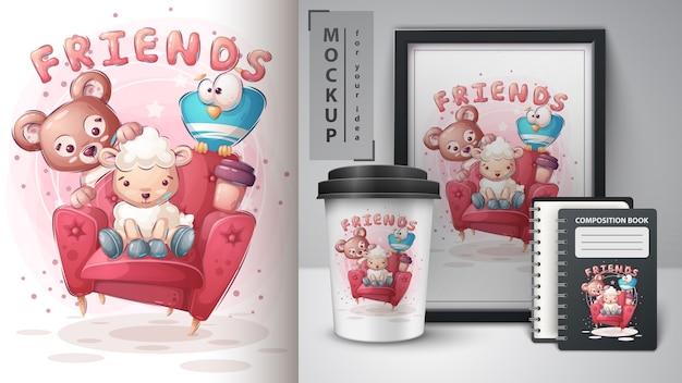 Cartaz de amigos no sofá e merchandising