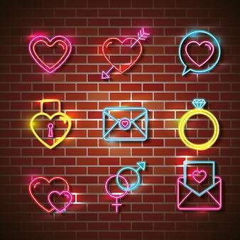 Cartaz de amor com luzes de néon defina ícones vector design ilustração