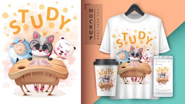Cartaz de animais de escola dos desenhos animados e merchandising