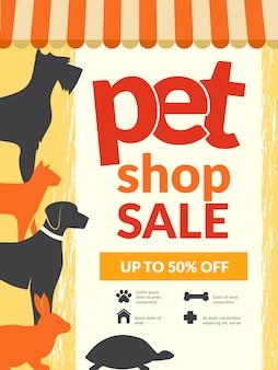 Cartaz de animais de estimação. cartaz animais domésticos gatos cães gatinho ícones tipografia papel de parede para animais de estimação loja design