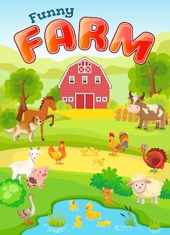 Cartaz de animais de fazenda