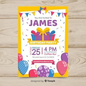 Cartaz de aniversário colorido design plano
