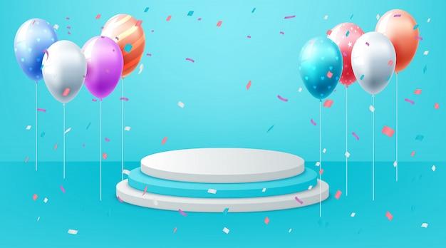 Cartaz de aniversário colorido realista com balões.