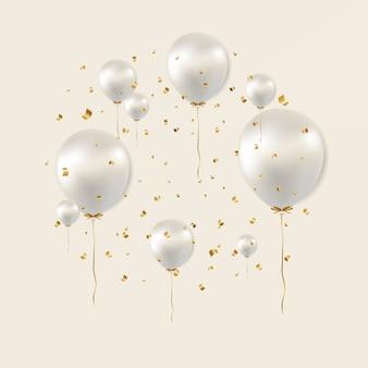 Cartaz de aniversário com balões brancos
