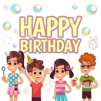 Cartaz de aniversário de crianças. crianças na festa de comemoração. convite de fundo vector