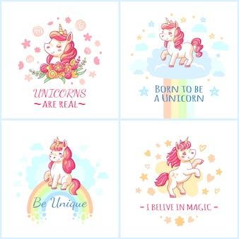 Cartaz de aniversário de unicórnio fadas personagem colorido.