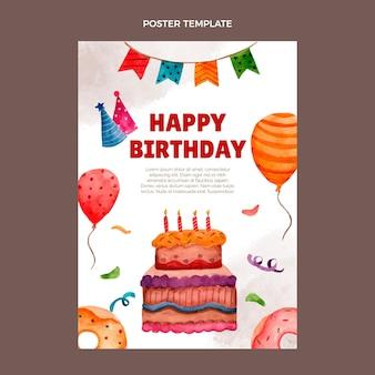 Cartaz de aniversário desenhado à mão em aquarela