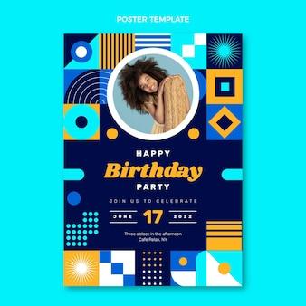 Cartaz de aniversário em mosaico de design plano