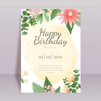 Cartaz de aniversário floral em aquarela