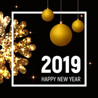 Cartaz de ano novo 2019, bolas de ouro e floco de neve