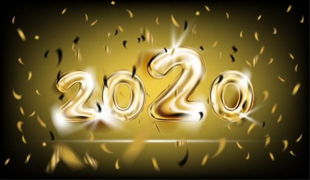 Cartaz de ano novo de 2020 em preto