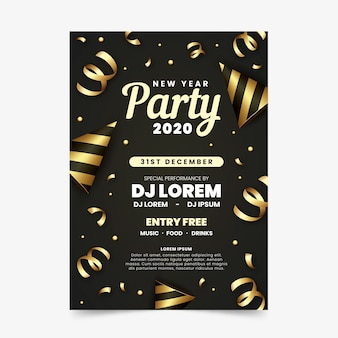 Cartaz de ano novo de fitas douradas 2020