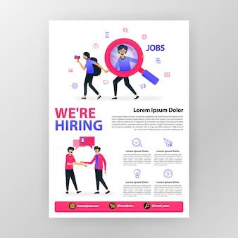 Cartaz de anúncio abrir vaga. nós estamos contratando com ilustração em vetor plana dos desenhos animados.