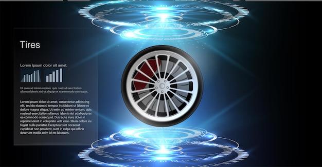 Cartaz de anúncio de carro de pneu