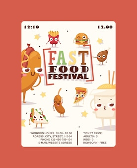 Cartaz de anúncio festival de fast-food