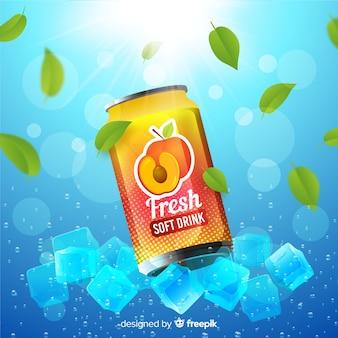 Cartaz de anúncio realista de refrigerantes