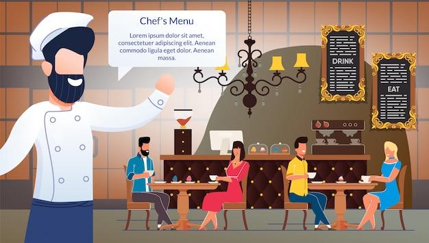 Cartaz de anúncio vetor plana restaurante ou cafeteria