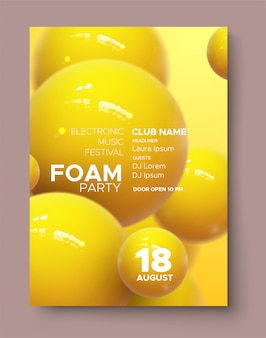 Cartaz de anúncios do festival de música eletrônica. convite de festas moderno da espuma do clube