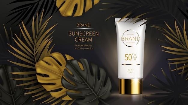 Cartaz de anúncios realistas cosméticos de proteção solar