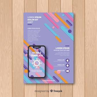 Cartaz de aplicativo móvel de barras coloridas