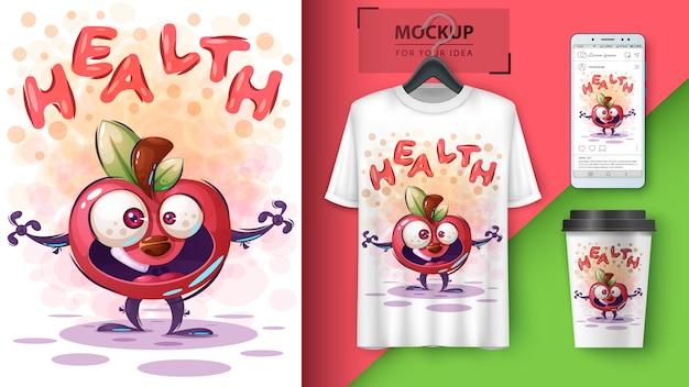 Cartaz de apple de saúde e merchandising