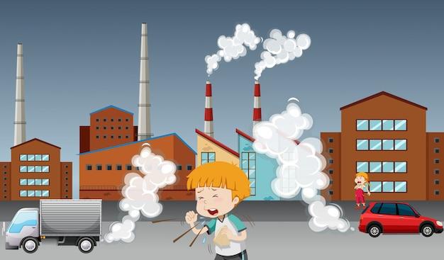 Cartaz de aquecimento global com criança e fábrica