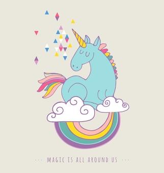 Cartaz de arco-íris e unicon mágico fofo, cartão de aniversário