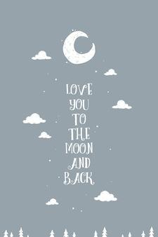 Cartaz de arte adorável parede 'te amo até a lua e voltar'