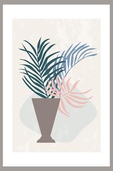 Cartaz de arte de parede com uma composição abstrata de formas simples e plantas frondosas em um vaso