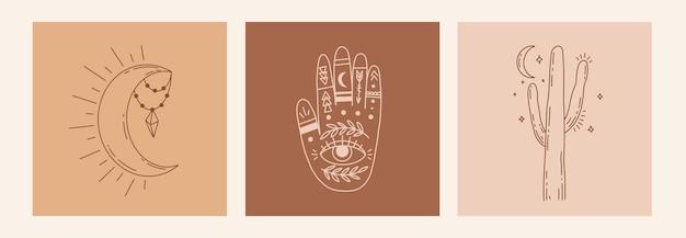 Cartaz de arte em linha mágica com as mãos