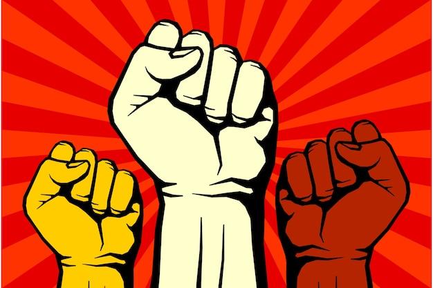 Cartaz de arte revolucionar protesto rebelde vetor para liberdade