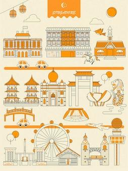 Cartaz de atrações imperdíveis em cingapura em estilo simples