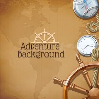 Cartaz de aventura com símbolos de navegação do mar retrô e mapa-múndi em fundo