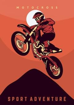 Cartaz de aventura de esporte de motocross