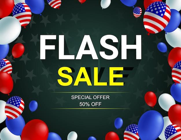 Cartaz de balão americano celebração venda flash.