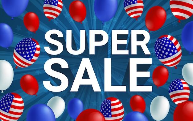Cartaz de balão americano celebração venda super.