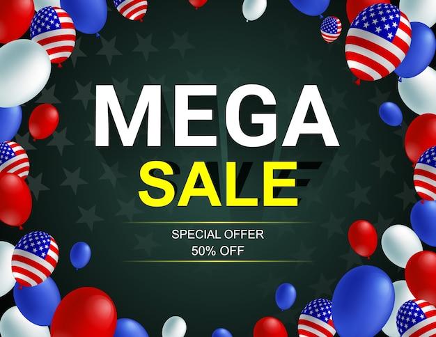 Cartaz de balão americano mega venda celebração.