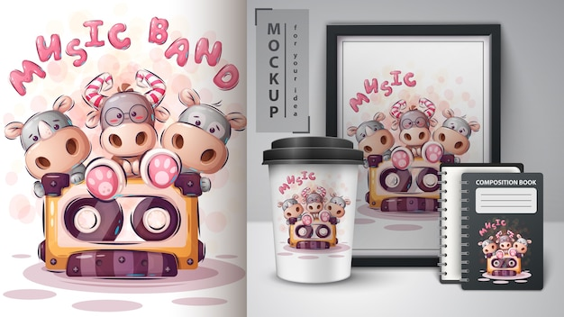 Cartaz de banda de música e merchandising. vetor eps 10