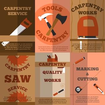 Cartaz de bandeiras plana de carpintaria 6