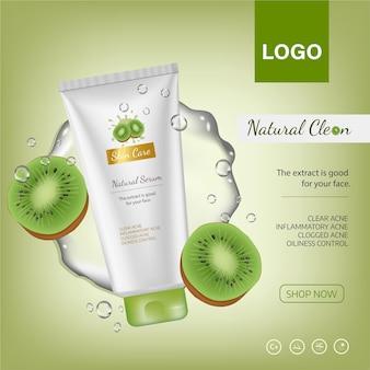 Cartaz de banner de anúncios para produtos cosméticos para catálogo com a revista de kiwis vetor de cosméticos