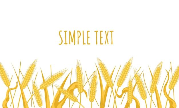 Cartaz de banner de campo de paisagem de espigas de trigo com local de texto design gráfico de vetor plana dos desenhos animados
