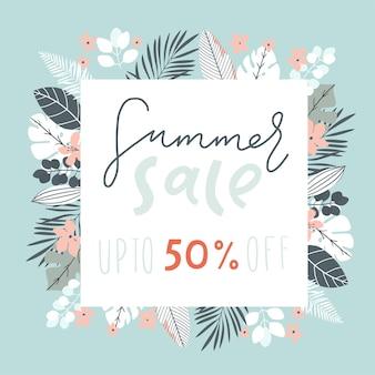 Cartaz de banner de venda com folhas de palmeira, flores tropicais e letras manuscritas