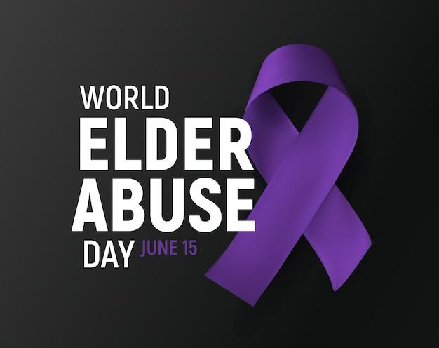 Cartaz de banner do dia mundial do abuso de élderes para conscientização do problema social dos idosos fita roxa humana