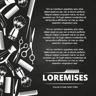 Cartaz de barbearia de quadro-negro