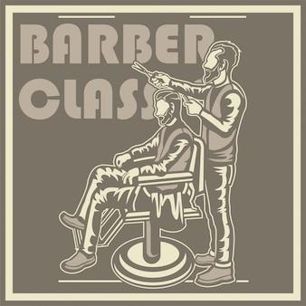Cartaz de barbearia vintage com cadeira de barbeiro, homens, texto e textura grunge