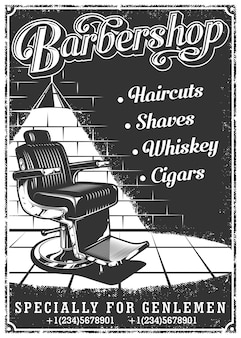 Cartaz de barbearia vintage com cadeira de barbeiro