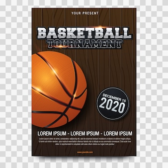 Cartaz de basquete publicidade ilustração vetorial